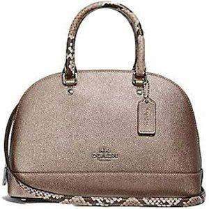 Coach Metallic Exotic Trim Mini Sierra Satchel Handbag Crossbody SV/Platinum
